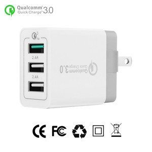 US Plug 3-Ports QC3.0 USB Wall Charger Travel Adapter Qualcomm 3.0 Quick Charger Support Smart Fast Charge for Samsung Galaxy S6 HTC M9 Nexus 6 LG G4
