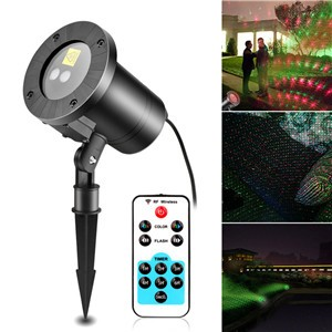 Lemonbest - Starry Red and Green 2-colors Laser Projector with Remote Control, Outdoor Waterproof Star Projector, Laser Landscape Projector, Holiday Laser Light , Dazzling Effects with Wireless Remote