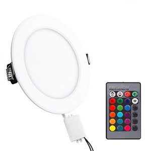 Lemonbest - Panel Light Ceiling Light RGB Round Remote Control LED Panel Light Concealed Recessed Ceiling Lamp Downlight for meeting room, store, super market bedroom 5W AC 85-265V
