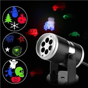Lemonbest - Rotating Rgb Projection Led Lights Lamp Image Projection Lights with 4 Gobo Slides for Xmas Birthday New Year Halloween Party Holiday Home Decor
