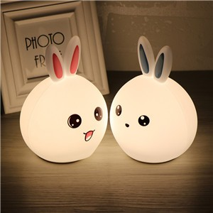 Remote Rabbit Bunny Night Lamp, Sensitive Tap Control ,USB Rechargeable Children Night Light with Warm White, Single Color & 7-Color Breathing Modes,Cut Toy for Baby Children Bedroom