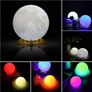 3D RGB Print LED Moon Light, Magical Night Light Desk Lamp USB Rechargeable Light Multi-color Support Remote Control For Home Party  Shopping Mall