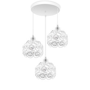 Lemonbest -Vingtank Antique Pendant Island Light Modern Hollow Dining Room Pendant Light Adjustable Length Celling Lamp White Metal Crystal Hanging Light Chandelier Use 3 E27 Bulb (Not Included)