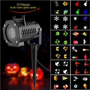 Lemonbest - Projector Light Outdoor Garden LED Halloween Christmas Party Flood Multicolor Indoor Moving Landscape Patio Stage House Decor Lights lighting Spotlight with 12pcs Colorful Gobo Slides