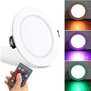Lemonbest  - 10W Round RGB LED Panel Light Concealed Recessed Ceiling Lamp Downlight with Remote Control AC 85-265V