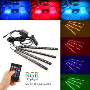 "Lemonbest-4PCS 8.7"" Car Music Control RGB Strip Light IR Remote Control Flexible Atmosphere Lamp Kit Foot Lamp Decorative Light SMD5050 Powered by Car Charger"