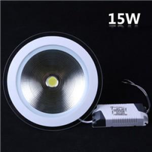 Lemonbest - 15W Recessed Round COB LED Panel Light Glass Lens Cool White Lamp Downlight AC 85-265V