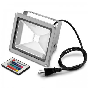 Lemonbest-20W RGB LED Flood Light Spotlight Lamp with Remote Control Waterproof for Outdoor Garden Landscape AC 85-245V
