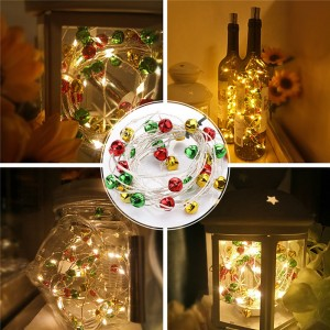 30pcs LEDs Warm White Wine Bottle Cork String Light Silver Wire Battery Powered with Colorful Bell Christmas Wedding Party Living Room Decoration(Length:3m/9.8ft)