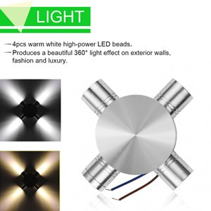 Modern 4W Aluminum 4-Head LED Wall Light Ceiling Lamp Home Lighting Indoor Outdoor Decoration Cool White AC 85-265V