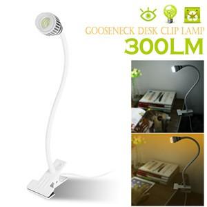 Flexible Gooseneck 3W COB LED Desk Clip Lamp Table Light Tube Reading Light Bedside Light with Power Switch US Plug AC 85-265V