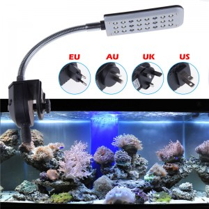 LemonBest - 24 LEDs Aquarium Lamp Fish Tank Water Plant Lighting Spotlight 12v 3 modes White Blue Light