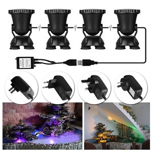 Spot Light 36 LED Underwater Spot Light IP68 waterproof Aquarium Pond Fish Tank Lighting 3 Colors Changing (Set of 4 lights)