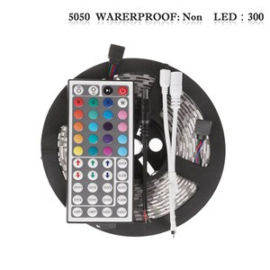 LemonBset - (Non-Waterproof) 5M/roll 300 LEDs RGB SMD 5050 Flexible led Strip Light with 44Keys IR Remote