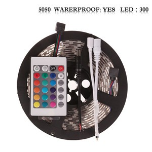 LemonBset - (Waterproof) 5M/roll 300 LEDs RGB SMD 5050 Flexible led Strip Light with 24Keys IR Remote