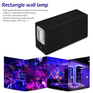4W Rectangle LED Wall Lamp Up and Down Night Light Spotlight for Theater KTV Bar Showcase Restaurant Gallery
