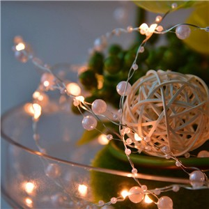 Lemonbest - 6m/19.7ft 60-LED Pearl Copper Wire String Light Warm White  Fairy Lights for Craft Glass Bottle Valentines Wedding Party Xmas Battery Operated