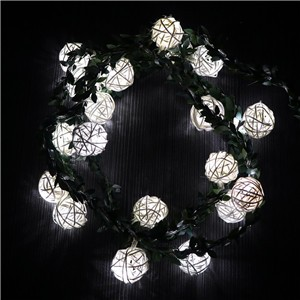 20 LED Rattan Ball String Fairy Light Lamp Xmas Christmas Wedding Party Decor -White color