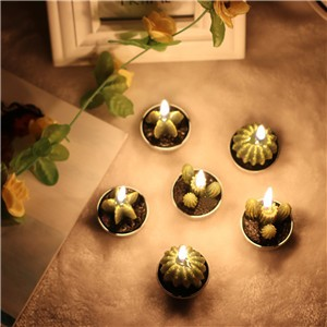 6pcs Non-spill Cactus Candle Decorative Tea Light Candles for Xmas Party Hallowmas Wedding Candles Home 3 Styles Mixed