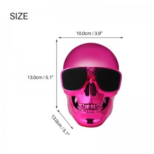 Portable Skull Head Shape Wireless Bluetooth Speaker Stereo Rechargeable with 3.5mm Audio Input for Desktop PC Laptop Tablet Smartphone