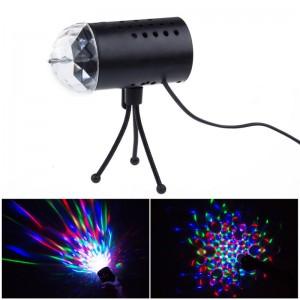 LemonBest- RGB Colorful Effect Rotating Mini Round LED Bulb Crystal Magic Ball Light Stage Lamp for DJ Party Disco Bar KTV Lighting