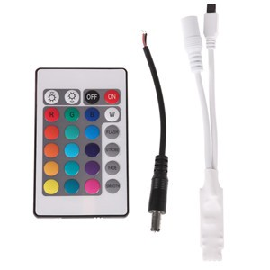 24 Key Wireless IR Remote Switch Controller Dimmer Set for RGB SMD LED Light Strips DC 12V