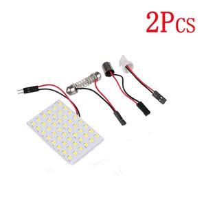 LemonBest-2pcs T10 SMD 48 LED Car Interior Panel Light Festoon Dome Bulb Lamp Cool   White 12V