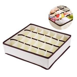 LemonBest-Collapsible 24 Cell Fabric Organizer Storage Box Socks Underwear Closet Baskets Divider
