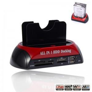 "LemonBest - All in1 2.5"" 3.5"" Dual USB 2.0 SATA IDE Double Dock HDD Docking Station Hub Card Reader OTB   External Storage Enclosure"