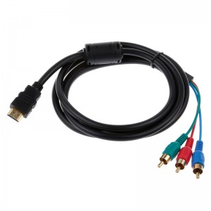 6' Ft 1.8 Meter HDMI to 3RCA Male Audio Video Component Convert Cable For HDTV 1080P