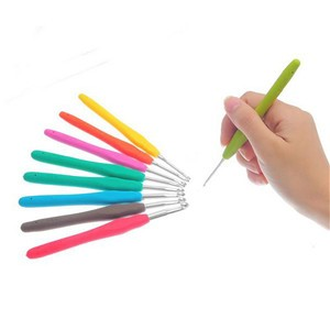 LemonBest-9pcs Aluminum Crochet Hooks Needles Kit TPR Handle Knitting for Loom Band DIY Crafts Needlework 13.7cm