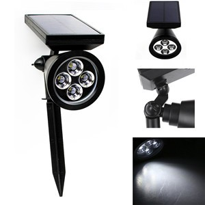LemonBest-Waterproof 100LM Solar 4 LED Lawn Light Outdoor Garden Path Lamp Auto On 2 Mode   with Spike