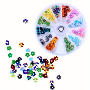 LemonBest-Multi Sizes Shape 3D Nail Art Paillette Decoration Glitter Multicolor with Wheel