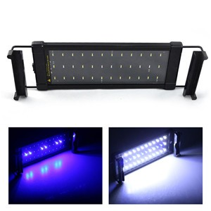 LemonBest-Aquarium Fish Tank SMD LED Light Lamp 6W 2 Mode 28cm 30 White + 6 Blue EU/UK Plug