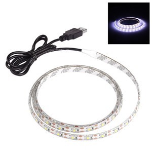 LemonBest-1m/3.3ft Waterproof 700LM 3528 SMD USB 60LED Strip Light String Lamp Cool White DC 5V
