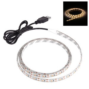 LemonBest-1m/3.3ft Waterproof 700LM 3528 SMD USB 60LED Strip Light String Lamp Warm White DC 5V