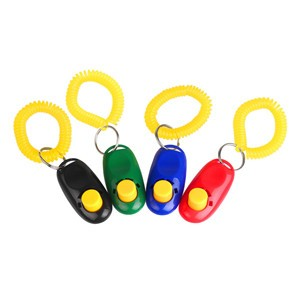 LemonBest-4pcs Dog Pet Click Clicker Trainer with Spring Rope