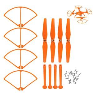 LemonBest-(Orange)Main Blades Propellers + Landing Skids + Propeller Prop Protective   Guards Kit for Syma X8 X8C X8W RC Drone Quadcopter Parts Accessories