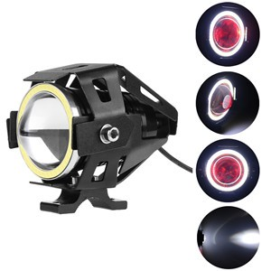 LemonBest-(Cool white)U7 125W LED Motorcycle Headlight Fog Spot Light Lamp Angle Eyes + Devil Eyes 12-80V Waterproof
