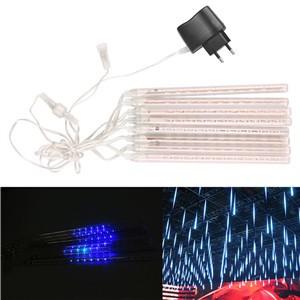 "LemonBest-20cm/7.9"" Waterproof Blue LED Meteor Shower Rain Light Tube Snowfall   Christmas Deco Lights with Tail Plug 100-240V EU/ US Plug"