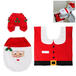 LemonBest-3 Pcs Christmas Decoration Santa Toilet Seat Lid Cover and Rug Pad Bathroom Set