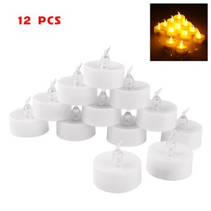 LemonBest-12 pcs Mini Flameless LED Tealight Tea Candle Light Smokeless for Hallowmas   Xmas Party Wedding Candles Safety Home Bar Decoration