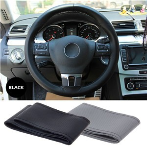 LemonBest-Leather Car Steering Wheel Cover Auto Car Stitch On Wrap Cover for Diameter 38cm