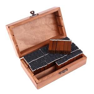 LemonBest-70Pcs Wooden Rubber Alphabet Letter Number Stamps Stamper Seal Set   Capital Upper Lower Case