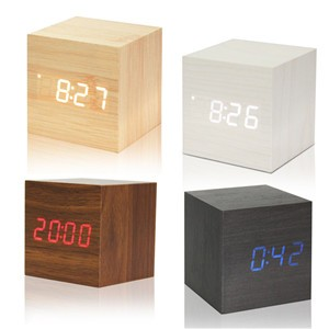 Lemonbest-Modern Wooden Cube Design Digital LED Desk Alarm Clock Thermometer Timer Calendar