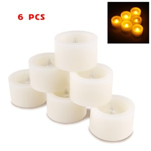 LemonBest-6 pcs Flickering Flameless Timing LED Wax Candle Light Smokeless for   Hallowmas Xmas Party Wedding Candles Safety Home Bar Decoration