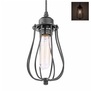 LemonBest-Mini Vintage Industrial Loft Hanging Pendant Light Black Cage Lamp E27   Socket (No Bulb Included)
