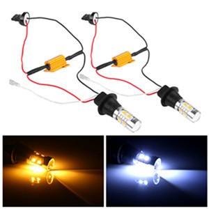 LemonBest-2pcs 7440 T20 Single Filament Dual Color Switchback LED DRL Turn Signal Light Kit