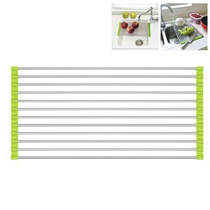 LemonBest-Roll-Up Folding Stainless Steel Drainer Rack Colander Over Sink Drying Tray for Kitchen