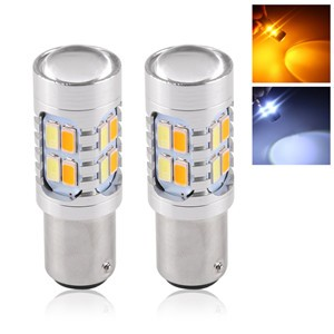 LemonBest2pcs 20W Amber/White 1157 BAY15D SMD Car Bulbs Switchback LED Drive Dual Color DRL Turn Signal Light Fog Lamp